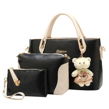 Three-piece Women Bags set new fashion lady shoulder bag with bear women messenger bags high quality leather purses and handbags