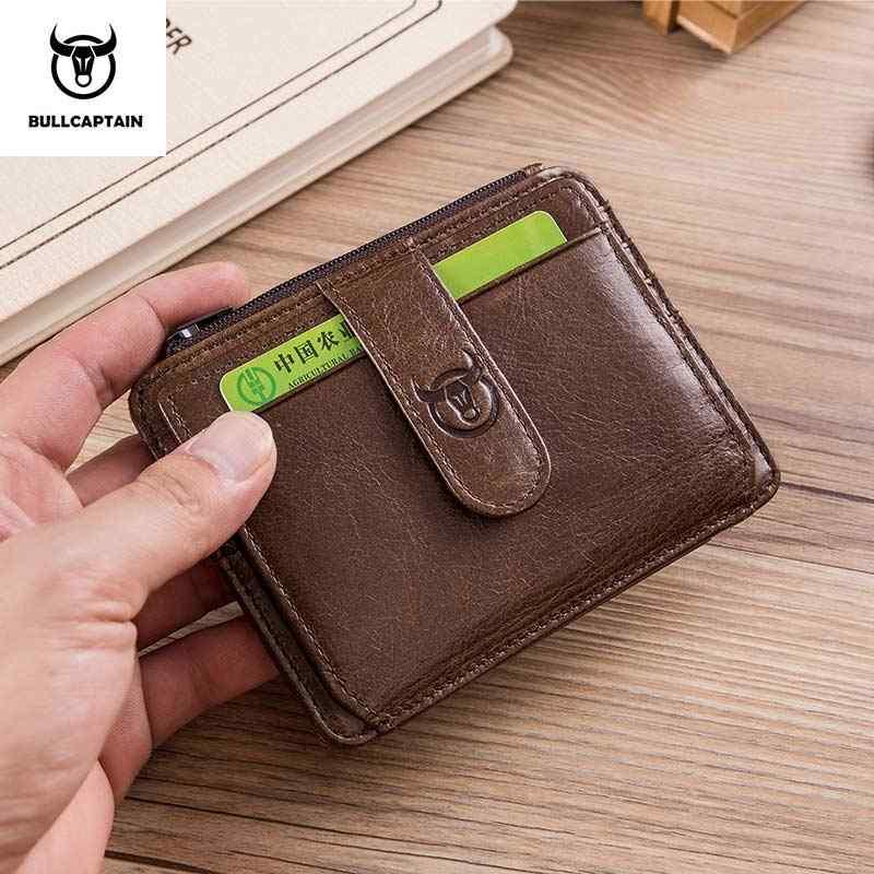 bdf81b86ff94 BULLCAPTAIN Business Genuine Leather Credit Card Holder Zipper ID Card  Wallet Holder Mini Slim RFID Wallet Man tarjetero hombre