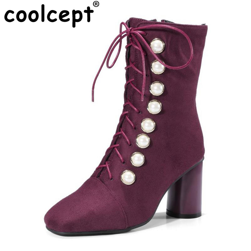 Coolcept Plus Size 32-48 Women High Heel Boots Shoes Half Short Boot Cross Strap Beading Warm Fur Winter Botas Women Footwear coolcept size 34 43 women half short thick bottom boots cross strap warm shoes cold winter boots mid calf botas women footwear