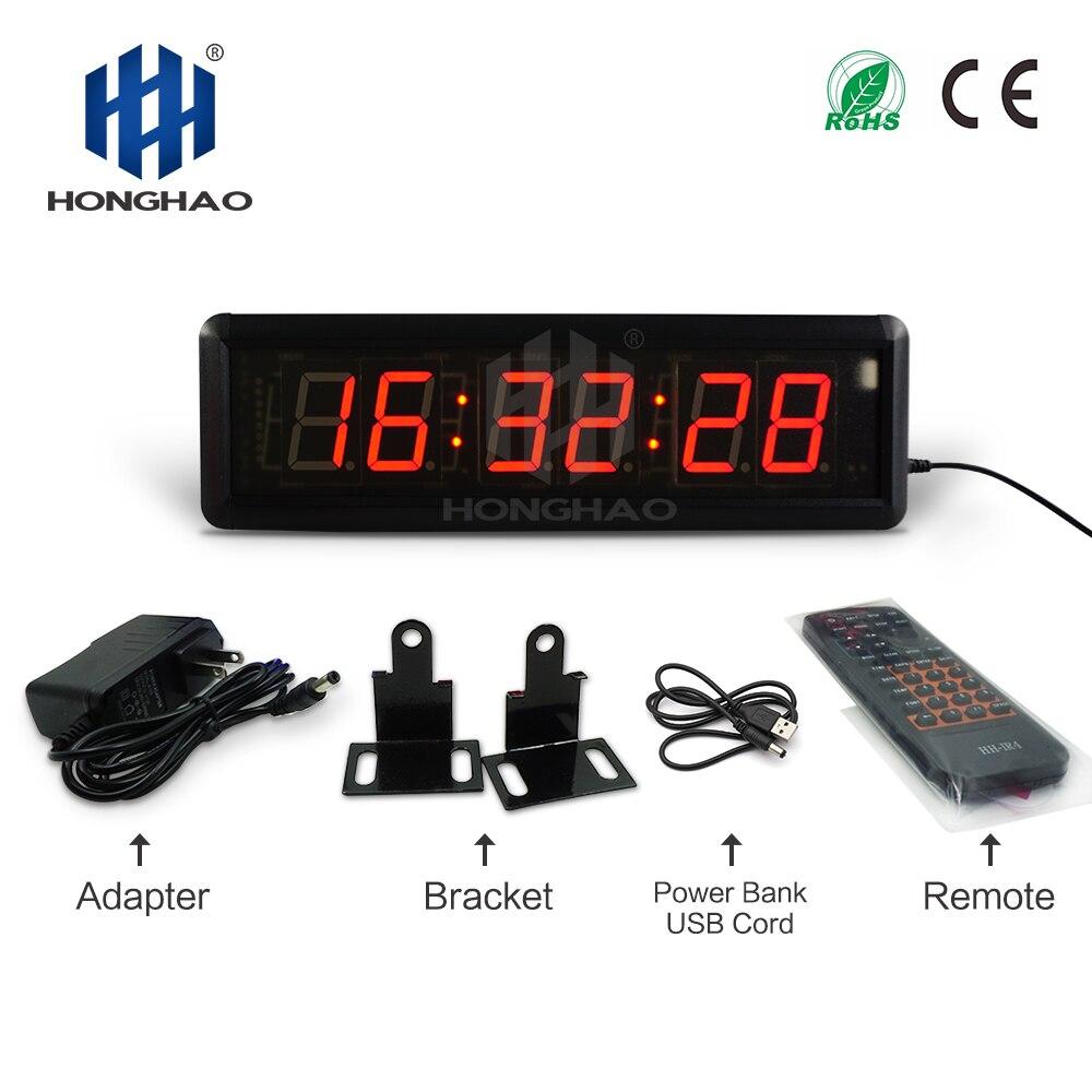 Honghao светодиодный цифровые настенные часы для конференц зала матч комплекса предпусковых операций Дисплей Crossfit оборудования 110V постоянног...