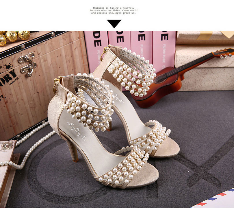2015 Fashion Summer Women High Heel Sandals Ankle Strap Open Toe White Pearl  Sexy Strappy Heels Dress Shoes Plus Size Pumps