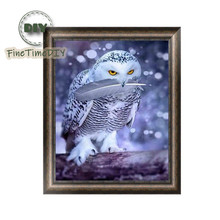 FineTime Owl 5D DIY Diamond Painting Partial Round Drill Diamond Embroidery Animal Cross Stitch finetime owl 5d diy diamond painting partial round drill diamond embroidery animal cross stitch