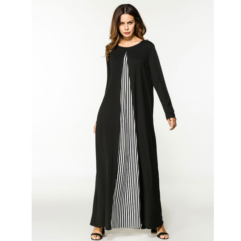 Dress muslim striped knit long sleeve robe black and white stitching ladies autumn casual robes women's dress plus size dress