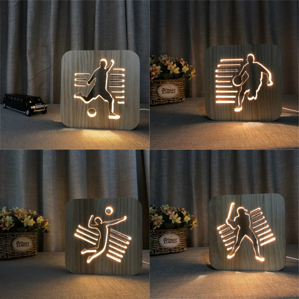 Wooden Sports 3D Night Light DIY Customize Lamp Football Basketball Volleyball Baseball Table Lamp Friends Birthday Trophy Gift
