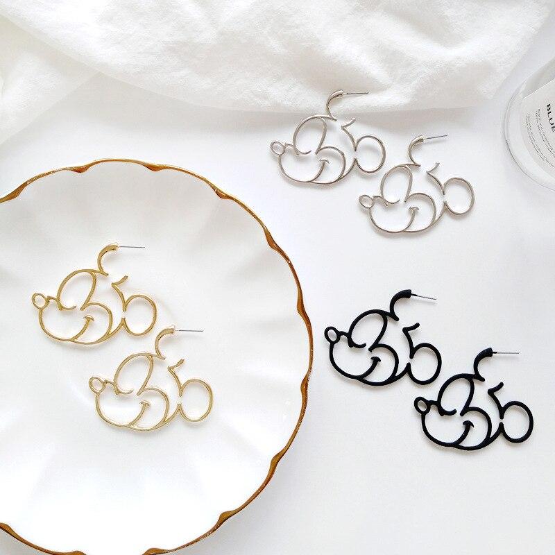 Gold Silver Black Color Simple Kawaii Cute Mickey Minny Stud Earrings Female Loverly Howllowed out Geometric Earring For Women Пирсинг ушей