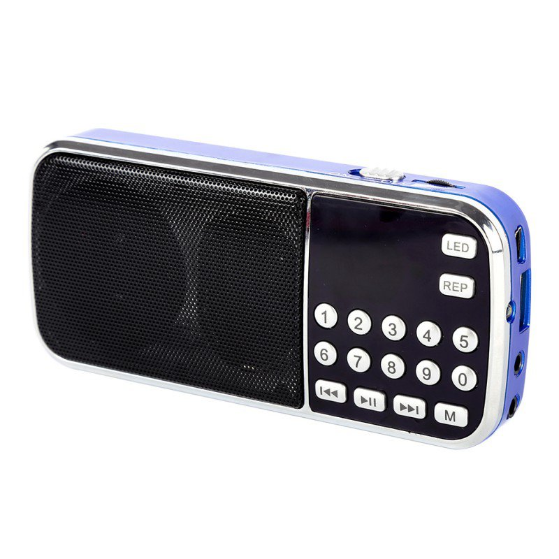 New Arrival Portable Digital Stereo FM Mini Radio Speaker Music Player with TF Card USB AUX Input Sound Box Blue Black Red