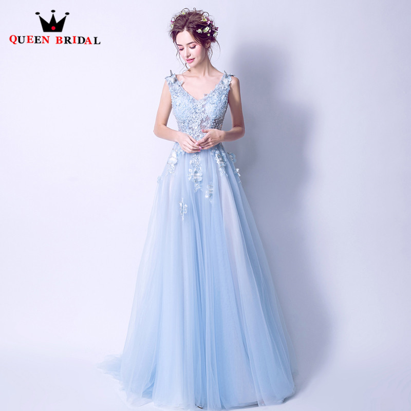 A Line Lace Beading Flowers Tulle Long Elegant Light Blue Evening