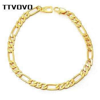 Pulseiras de corrente de ttvovo para mulheres masculino tom de ouro cubana curb figaro cobra link correntes pulseira de mão corrente pulseira de jóias presente 1