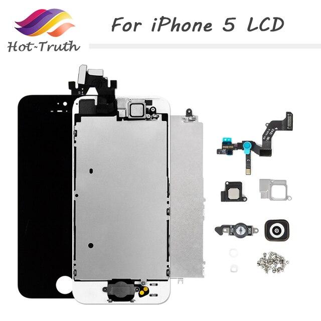 Ensemble complet assemblage complet écran LCD pour iPhone 5 5C 5S LCD écran tactile numériseur bouton daccueil caméra avant + haut parleur avec outils