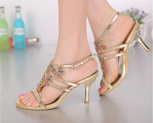 5d80b912a364 placeholder brand 2018 women thin high heels sandals colorful rhinestone  flowers bohemia sandalias summer party wedding pumps