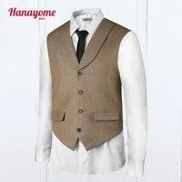 Kaki Vest Verstelbare Riemlussen Mens Vesten En Broek Set Mannen bruin Pakken Voor Bruiloften 2 st Prom Sets Kleurrijke Mens Suits VS38