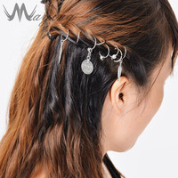 2017 Ethnic Coin Leaf Silver Braid Hair Dreadlocks DIY Jewelry Loops Girls Womens Plait Headdress Hoop