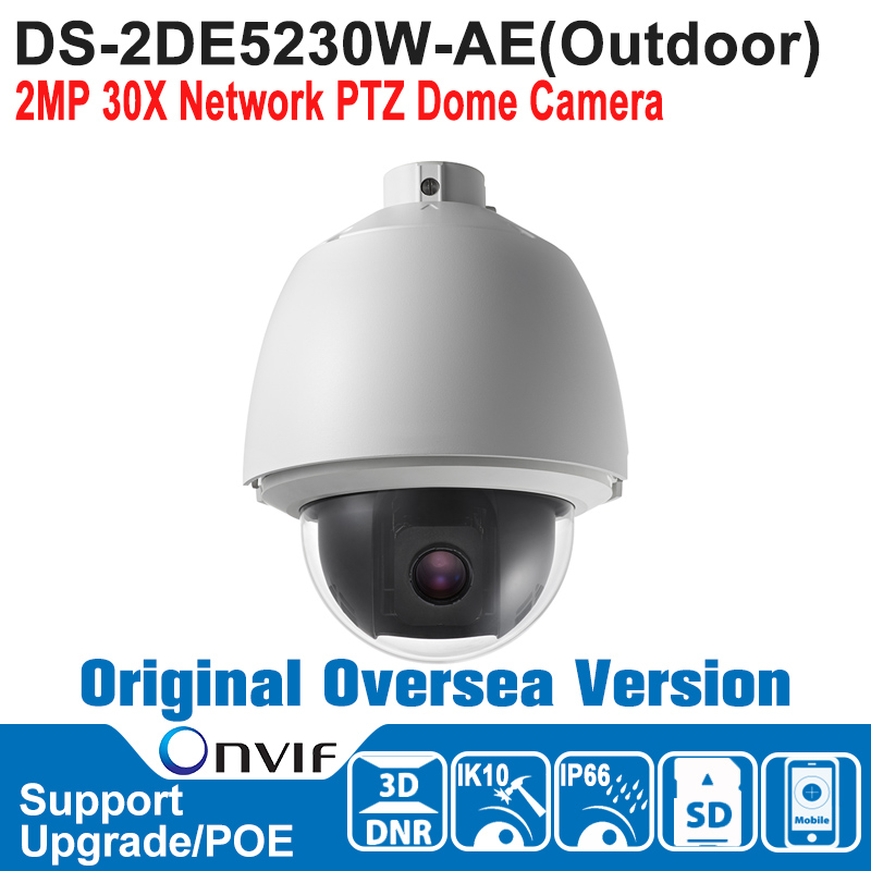 DS-2DE5230W-AE HIK PTZ Camera 1080P POE 2MP 30X Network PTZ Dome Camera Outdoor Speed Dome Camera IP66 IK10 ONVIF P2P ds 2df7274 ael hik ptz camera 1 3mp network ir ptz dome camera speed dome camera outdoor high poe ip66 h 264 mjpeg mpe