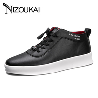 New Italy Designer Men PU Leather Men Shoes Autumn Spring High Top Solid Fashion Lace Up