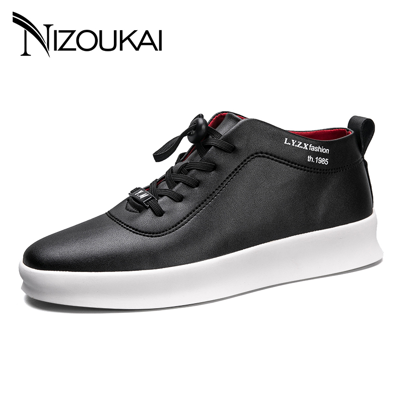 New Italy Designer Men PU Leather Men Shoes Autumn Spring High-top Solid Fashion Lace-up Man Casual Shoe Black White mycolen new fashion high top casual shoes for men leather lace up red white mixed color mens casual shoes chaussure homme cuir