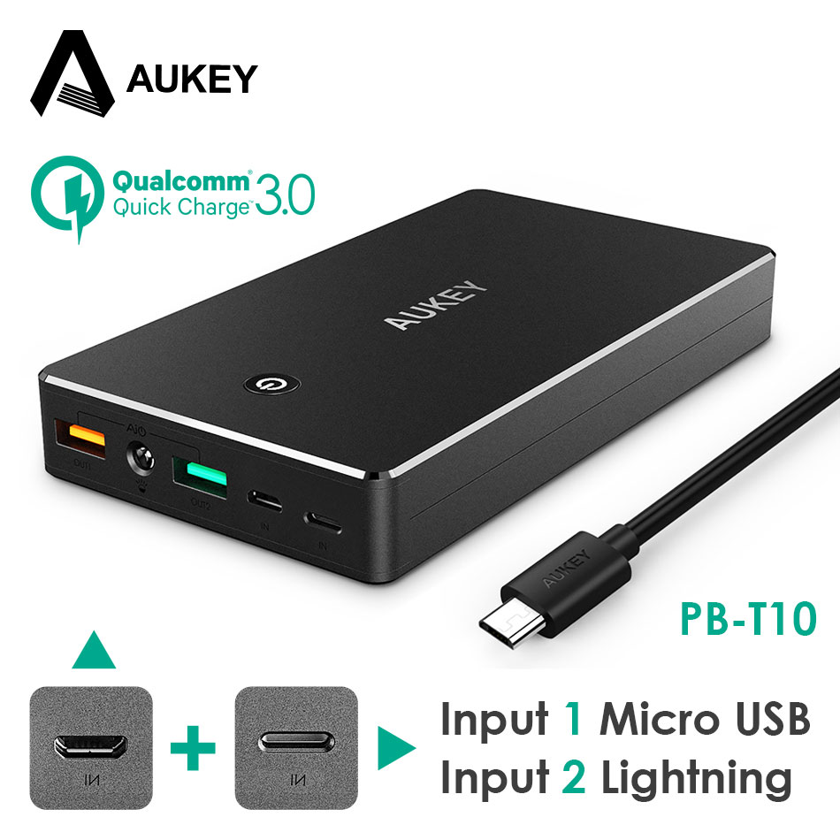 AUKEY Power Bank mAh Portable External Battery Mobile Backup Charger Dual USB