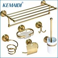 KEMAIDI Antique Brass Bathroom Accessories paper Holder Toilet Brush Rack Commodity Basket Shelf Soap Dish Robe Hook Hair Dryer