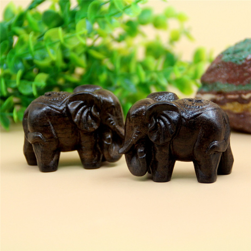 1 pereche 6cm Elephant de lemn Miniatură animală Zână grădină Acasă Case de decorare ambarcațiunile Micro decorul de amenajare a teritoriului WB921