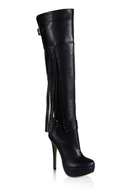 b352198fd10c fall winter fashion fringed belt buckle high heels platform pumps sexy over  knee high boots tassel