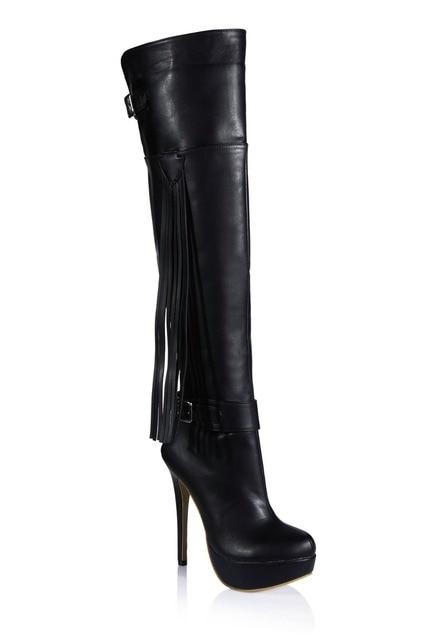 4d27512678f fall winter fashion fringed belt buckle high heels platform pumps sexy over knee  high boots tassel thigh long boots women shoes