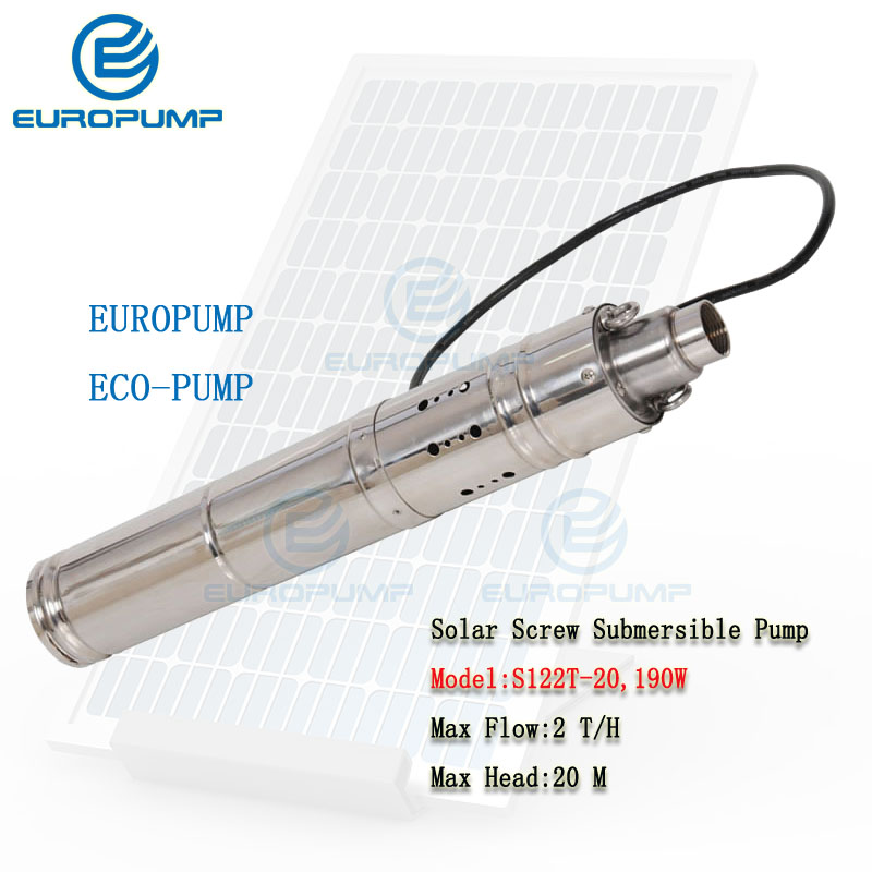 EUROPUMP MODEL(S122T 20) 3inch Dc 12v lift 20m 2000L/H submersible solar water pump for deep well and home water supply