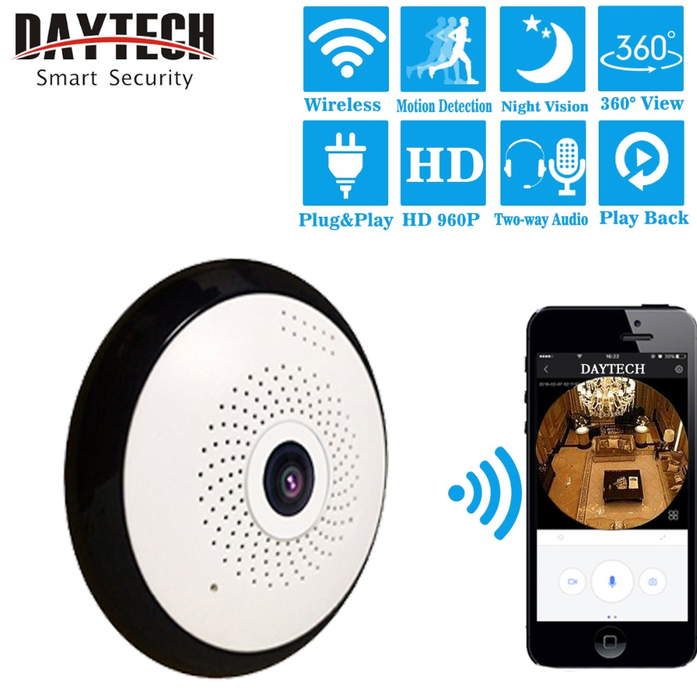 DAYTECH WiFi IP Camera Wireless Panoramic Surveillance Camera HD960P 360 Degree Fisheye Monitor IR Night Vision Motion Detection howell wireless security hd 960p wifi ip camera p2p pan tilt motion detection video baby monitor 2 way audio and ir night vision
