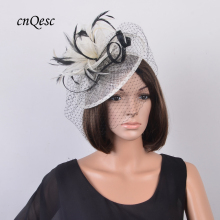 NEW Ivory/black sinamay fascinator with feathers&veiling for wedding,races,party,Kentucky Derby