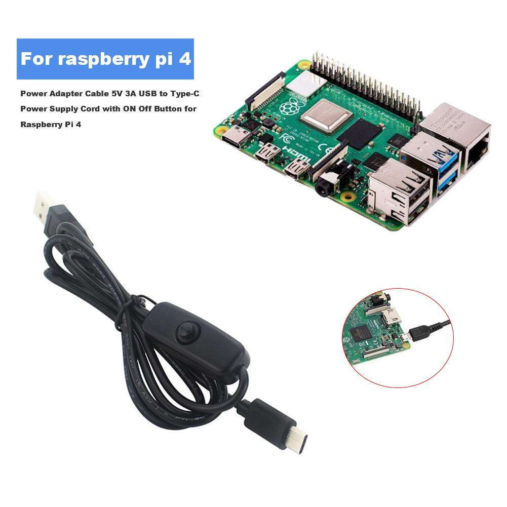 Power Adapter Cable For Raspberry Pi 4 5V 3A USB To Type-C Power Supply Cord With ON Off Button For Mini TV 2.5