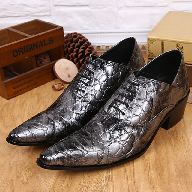 246bcba57964 Men Formal Sliver Dress Shoes Newest Pointed Toe Lace Up Snake Skin Style Genuine  Leather Luxury Fashion Brand Men's Loafers