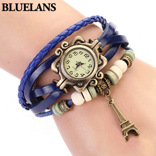 2016 New Beautiful Girl Lady Hot Vintage Women's Eiffel Tower Quartz Leather Bracelet Wrist Watch  1GOR 6T45 C2K5W