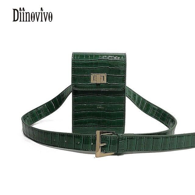 DIINOVIVO Vintage PU Leather Waist Bag Women Alligator Waist Packs Travel Belt Wallets Multifunction Casual Shoulder Bag DNV0277