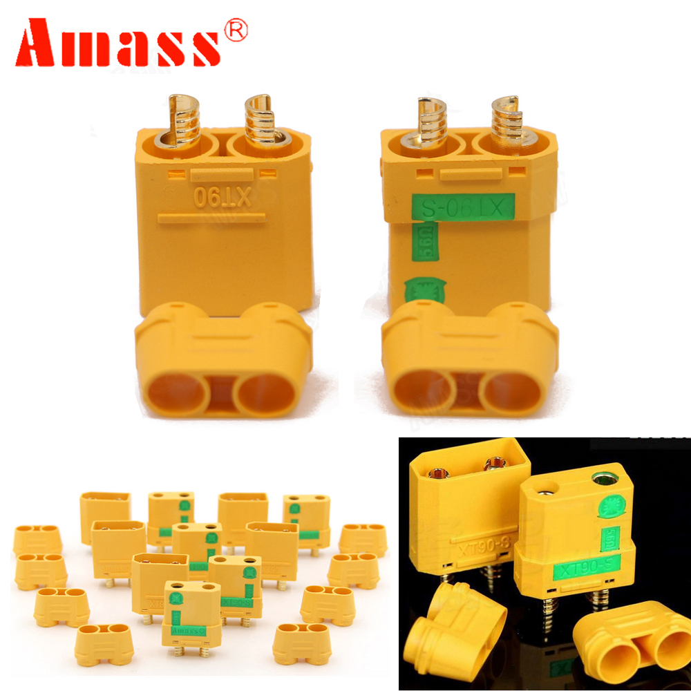 5pair Amass XT90S XT90-S Male Female Bullet Connector anti spark For RC DIY FPV Quadcopter brushless motor(China)