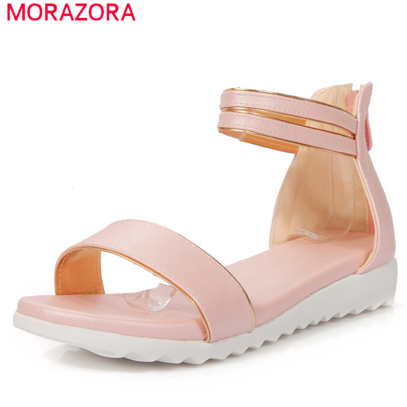 MORAZORA Women shoes sandals hot sale fashion  big size 33-43 zipper solid pu summer shoes wedges 2.5cmMORAZORA Women shoes sandals hot sale fashion  big size 33-43 zipper solid pu summer shoes wedges 2.5cm