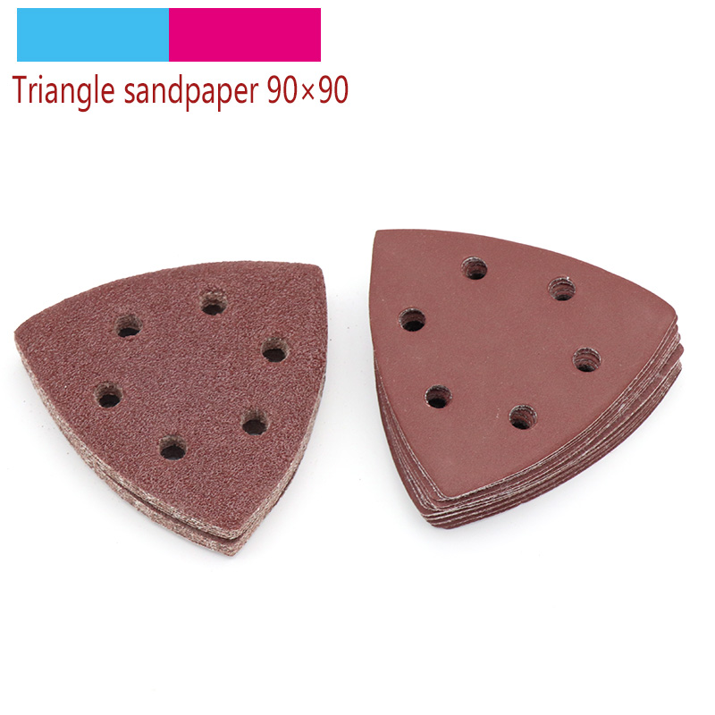 10pcs 90x90mm Self-adhesive Sandpaper Triangle Sander Grit 40-400 Sand Paper Sanding Disc Abrasive Tools For Polishing Wood