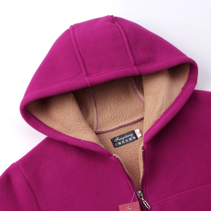Winter Middle Aged Womens Hooded Imitation Lambs Fleece Jackets Ladies Warm Soft Velevt Coats Mother Overcoats Plus Size (46)