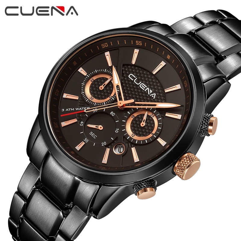 Men Fashion Quartz Chronograph Watch Stainless Steel Man Casual Wristwatches Top Luxury Brand CUENA Watches 6805G 9 Color Sport mens watches top brand luxury stainless steel analog display quartz watch men fashion casual wristwatches montre homme
