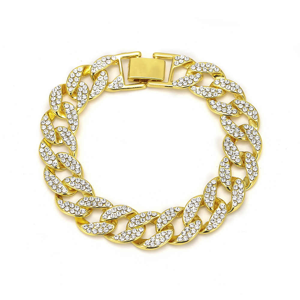 Karopel Fashion Luxury Men's Crystal Hip Hop Bracelets High Quality Gold&Silver Iced Out Miami Cuban Bracelet & Bangles