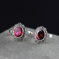 Genuine Solid Sterling Silver Ring 925 Personalized Womens Rings Ruby Garnet Stone Beautiful Fine Jewelry Anillos Mujer