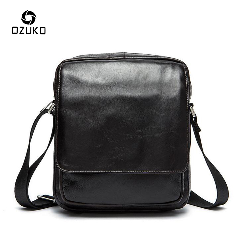 OZUKO Fashion Men Bags 100% Genuine Leather Messenger Bag Casual Shoulder Bag Handbag High Quality Travel Men's Crossbody Bag high quality vintage first layer 100% genuine leather men messenger bags handbag crossbody bag men s shoulder bags travel bag
