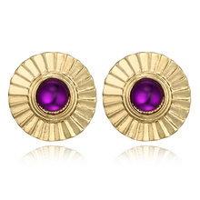 2018 New Geometric Round Purple Crystal Earring Fashion Big Pericing Earrings for Women Girl gift Pendientes Earring Jewelry(China)