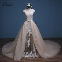 Luxurious Tulle Scoop Mermaid Wedding Dresses Sleeveless Marvelous Beaded Appliques Court Train 2 In 1 Floor Length Bride Dress