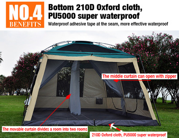 3 Room Camping Tent | 8-10 Person 4*3*2.17 Meter 3 Rooms Large Military Tents Outdoor Camping Tent Waterproof 5000PU Beach Tent For Family Outings