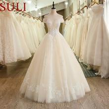 SL 6036 hombros descubiertos apliques con escote ilusión encaje vestido de novia 2019 nuevos estilos cuentas vestidos de boda de cristales