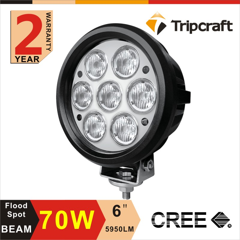 ФОТО 2PCS 7INCH 70W WORK LED LIGHT Multifunctional Brake Light FOR Truck OFFROAD 4WD Truck SUV Car Flood Spot External Driving Light