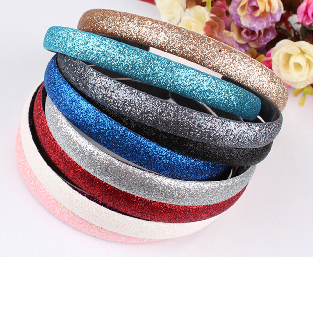 Plastic headbands for crafts - New Fashion 10 Colors Women Lady Girls Glitter Headband Sparkling Leather Plastic Hairband Hair Accessories