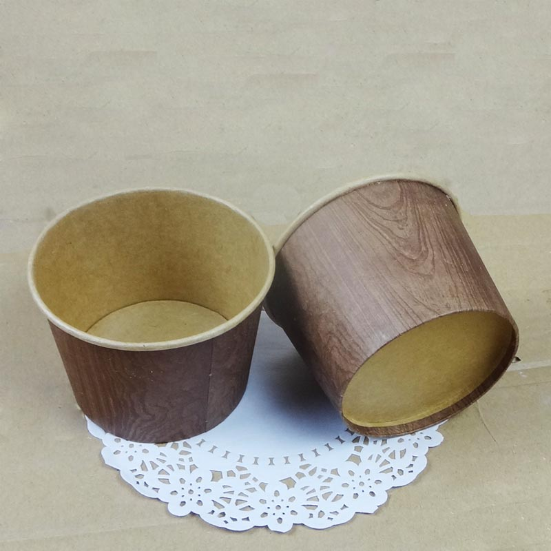 Free shipping wood grain cowhide card ice cream paper cup cake cups with transparent cover