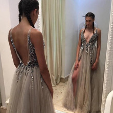 2019 New V Neck Slit Prom Dresses Plunging Neckline Crystal Prom Gowns Custom made Tulle Prom Party Dress Real Pictures цена 2017