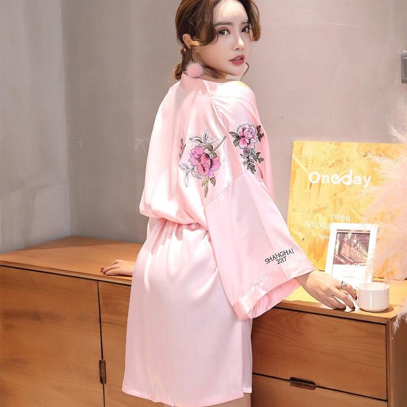 PKSAQ robe for women home robe Sexy Bathrobe Dressing Gowns embroidery Sleep Lingerie Night Bathrobes sleepwear Пижама