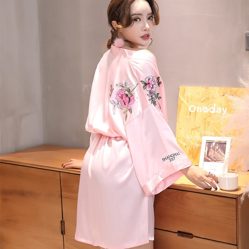 Constructive Pksaq Robe For Women Home Robe Sexy Bathrobe Dressing Gowns Embroidery Sleep Lingerie Night Bathrobes Sleepwear Robes
