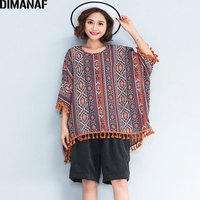 DIMANAF Women Plus Size T Shirt Spring Summer 2018 Print Batwing Sleeve Tassel Tops Tees Casual
